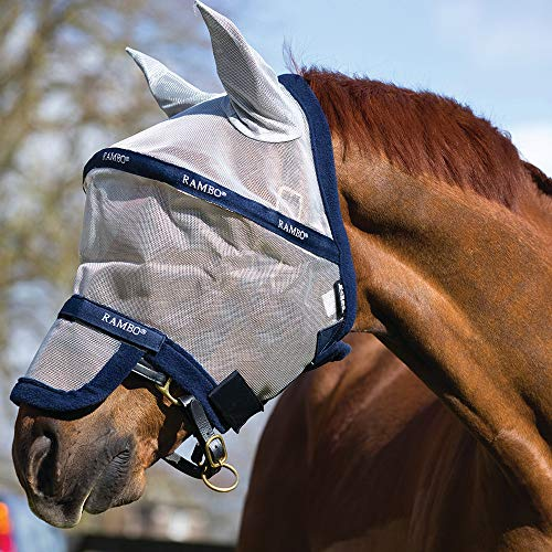 Horseware Rambo Fliegenmaske Plus, Größe:Pony, Farbe:Silver/Navy -
