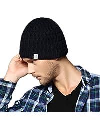 Kenmont hommes hiver laine en plein air de ski chaud bonnet tricoté couleur unie bonnet bouchon
