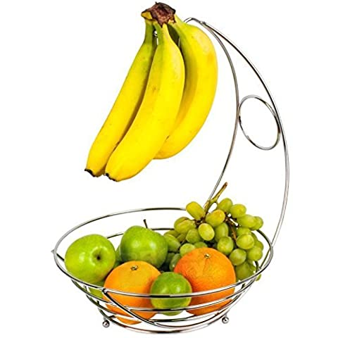 Chrome Banana Hanger Tree Holder Fruit Bowl Stand Storage Hook Apple Orange - Modern Decorative Banana