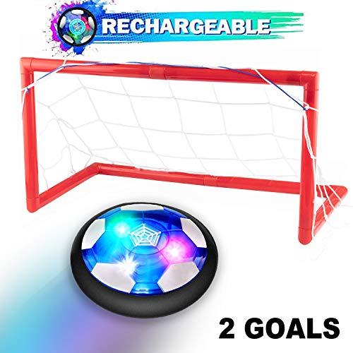 Leynatic Air Power Fußball Set Inkl.2 Gesetzt - Wiederaufladbares Hover Football Spielzeug mit Weichen Schaumstoff-Stoßstangen und Bunten LED-Lichtern,Perfekt für Kinder ab 3 Jahren