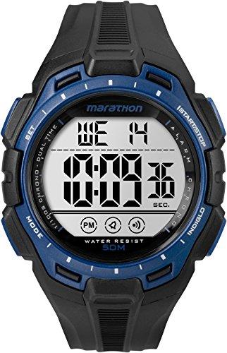 Marathon by Timex Men's TW5K94700 Digital Full-Size Black/Blue Resin Strap Watch -