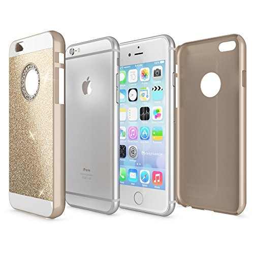 iPhone 6 6S Hülle Handyhülle von NICA, Glitzer Slim Hard-Case Back-Cover Schutzhülle, Handy-Tasche im Glitter Design, Dünnes Bling Strass Etui Skin für Apple iPhone-6S 6 Smart-Phone, Farbe:Gold Gold