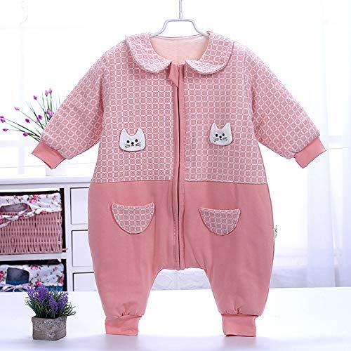 Säuglings- Und Kinderschlafsäcke Onesies Kinder-Baumwoll-Strampler Mit Anti-Tritt-Schlafsack Schlafzubehör Für Kleinkinder,Red(90cm)