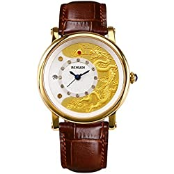 BINLUN Automatic Mechanical Watches for Men Dragon 18k Gold Brown Leather Watch Mens with Date