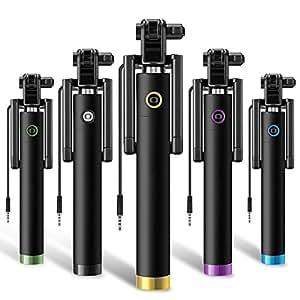Perche Monopode , SAVFY® Selfie Stick de Poche Filaire Autoportrait Monopod Pôle Réglable Comapct Monopode Extensible pour IOS et Android smartphones tels que l'iPhone 4/5/5s/6/6+/6S Samsung Galaxy S6/S6 Edge/S5/S4/Note4/3/2 Grand Prime/Core Prime, BlackBerry, HTC, Sony Xperia , LG et tous les populaires modèles de téléphones mobiles audio jack avec Prise audio 3.5 mm Contrôle (Bleu)