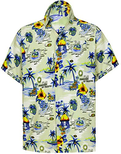 LA LEELA Herren Aloha Hawaii Hemd Kurzarm Button-Down Casual Beach Party - Beige - XL|Brust 122/132 cm