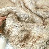 TOLKO 50cm Wolf Kunstfell | kuschelig weiches Fellimitat