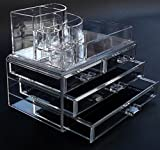 DOUBLE LAYER BEAUTY GLAM CLEAR ACRYLIC COSMETIC DRAWER / MAKE UP NAIL POLISH VARNISH DISPLAY STAND / ORGANISER / RACK / HOLDER CAN ALSO BE USED FOR MAKEUP BRUSH SETS, JEWELLERY AND ARTS AND CRAFT - 12 SECTIONS