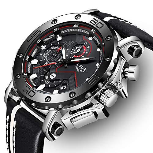 LIGE Herren Uhren Fashion wasserdichte Quarz Analog Uhr Männer Schwarz Sports Chronograph Edelstahl Silber Leder Armbanduhr