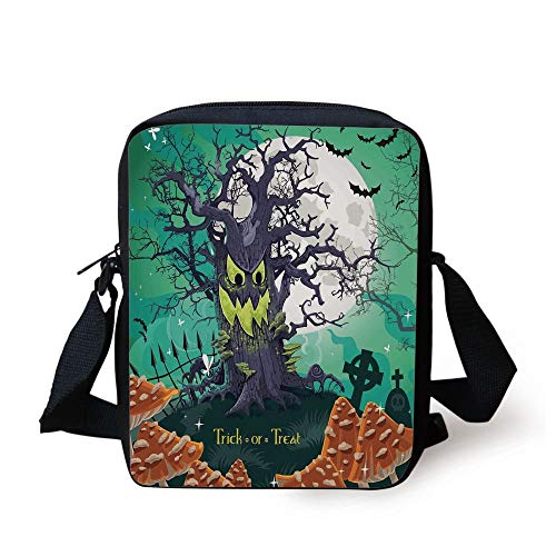 LULABE Halloween Decorations,Trick or Treat Dead Forest with Spooky Tree Graves Big Kids Cartoon Art,Multi Print Kids Crossbody Messenger Bag Purse