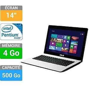 "Asus F451CA-VX116H Ordinateur Portable 14"" (35,56 cm) Intel Pentium Dual Core 2117U 1,8 GHz 500 Go 4096 Mo Intel HD Graphics Windows 8 Blanc"