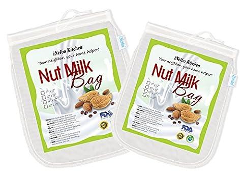 iNeibo Kitchen Nussmilchbeutel für vegana / Passiertuch waschbar / Durchseih Beutel/ Mandelmilch tuch zum auspressen von Obst, Gemüse, yogourt, marmelade, kaffee und vielmehr(2stück/10