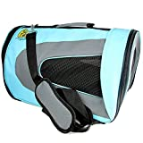 Pet Magasin Soft-Sided Pet Travel Carrier (Airline Approved) – Foldable Outdoor Transport Cage for Cats, Small Dogs, Puppies and Other Pets with Superior Ventilation (Large, Blue)