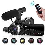Camcorder Videokamera 2.7K 30FPS WiFi Vlogging Kamera Nachtsicht Digitalkamera mit Mikrofon Vlog Blogging Videokamera für YouTube