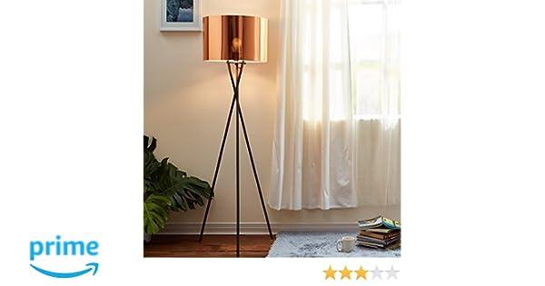 f5fe2989 Lampadaire Cara Trépied Lampe De Sol Sur Pied Abat-jour Cuivré VN-L00002-EU:  Amazon.fr: Luminaires et Eclairage