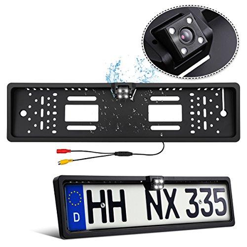 Rückfahrkamera Nummernschild Tvird Europa Kennzeichen mit 4 LEDs Nachtsicht, 170° Sichtwinkel, IP68 Wasserdicht -
