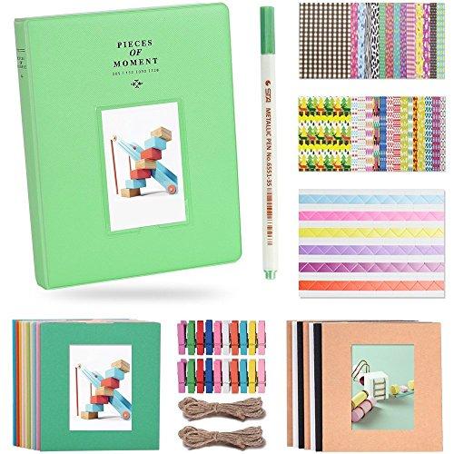 Katia 128 pockets album fotografico da 3 pollici accessori per fujifilm instax mini 7s / 8/9/25 / 50s macchina fotografica istantanea con cornice appesa / adesivi / penna -lime verde