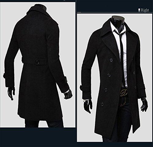 Elonglin Homme Hiver Manteau Trench-Coat à Manches Longues Double Boutonnage Chaud Slim fit Casual Parka Veste Longue en Laine Caban Duffle-Coats Mode Classique Noir Taille FR 50 (Asie M)