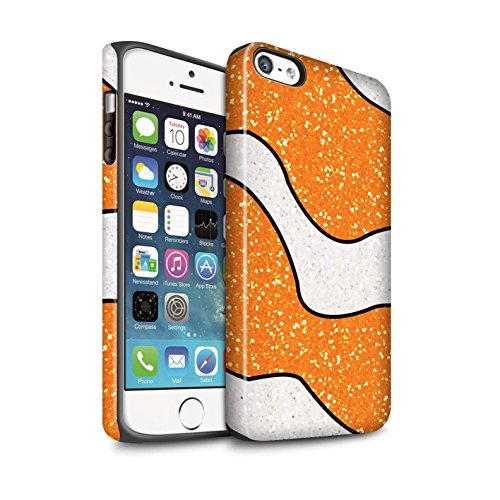 Stuff4® Matte Harten Stoßfest Hülle/Case für Apple iPhone 5/5S / Orange Clownfisch Muster/Glitter Muster Effekt Kollektion