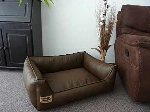 cf39638e621e Hundebettenmanufaktur Panier pour chien en cuir synthétique Marron 90 x 70  cm
