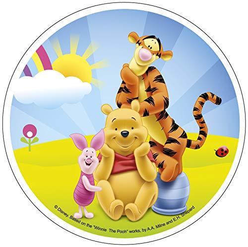 Decoración para tarta - Winnie the Pooh & 'Friends. Redondo de 20 cm. Cera Esta decoración comestible para tarta será perfecta para cualquier tarta de cumpleaños temática de Pooh. Se adhiere a su tarta con una fina capa de miel, glaseado o simila...