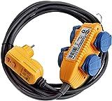 Brennenstuhl Schutzadapterleitung FI IP44 mit Powerblock Baustelleneinsatz und Outdoor 4-fach 5m, 1168720