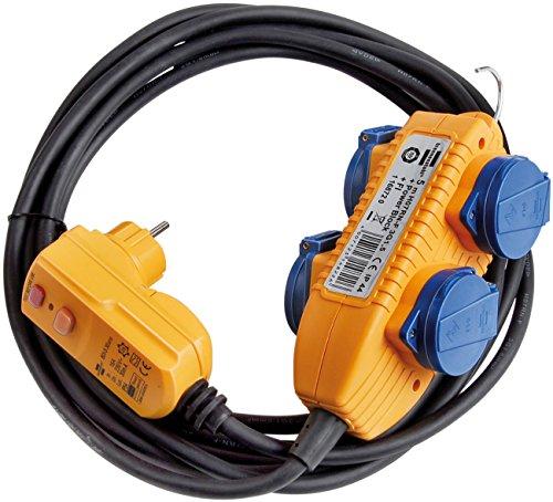 Brennenstuhl Schutzadapterleitung FI IP44 mit Powerblock Baustelleneinsatz und Outdoor 4-fach 5m, 1168720 -