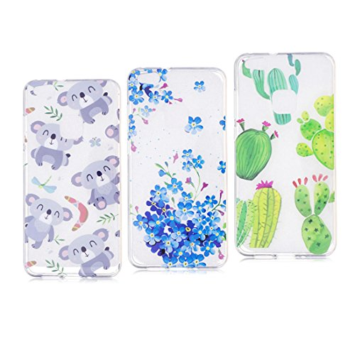 Huawei P10 Lite hülle, Voller Körper 360 Grad TPU Gel Transparentes Silikon handyhülle für Huawei P10 Lite Autoabdeckungen Clear Case [Koala+Blume+Kaktus ]