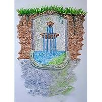 Zeichnung Zauberbrunnen 21 x 29,5 Aquarell Kunst handgemalt Brunnen Park Geschenk