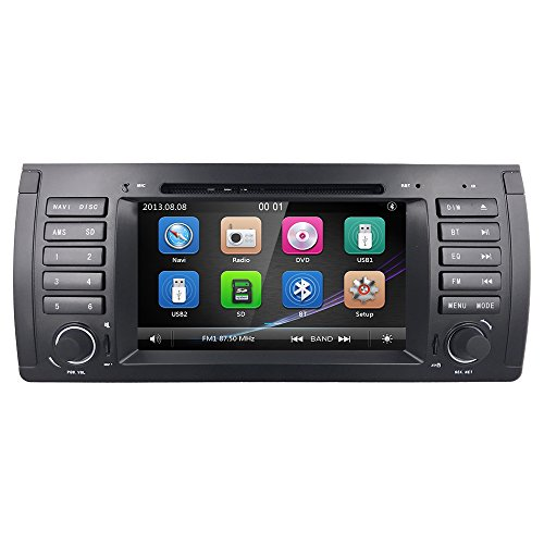 For BMW 5Series E39E53X5M5Vehicle Autoradio Single DIN 7Inch en Dash headunit multimédia HD Car Lecteur DVD GPS Radio Steering Wheel Control Bluetooth SD USB iPod stéréo AV dans boîte 1080p DVB-T entrée DVR Cam en un