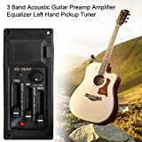 Qewmsg 3 Band Acoustic Guitar Preamp Amplifier Equalizer Left Hand Pickup Tuner