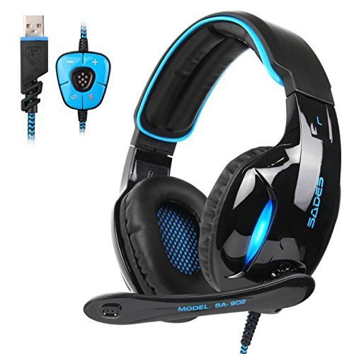 Sades SA902 PC Gaming Headset 7.1 Virtual Surround stereo Wired Up USB Computer Gaming Headset cuffie con controllo volume e microfono per computer (nero & blu)