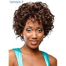 Meylee Pelucas Peluca rizada corta afro para peinados de las mujeres/3 negro , shape