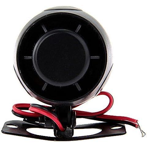 SODIAL(R)Sirena Avvisatore Acustico Allarme 120dB 12V per Antifurti Auto Bici Universale nero - Megafono Auto