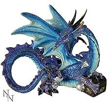 Nemesis Now Figurine décorative Dragon Piasa protégeant son trésor Bleu 12 cm