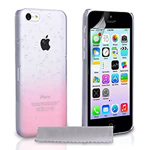 Yousave Accessories Raindrop Hard Cover Case for iPhone 5C - Baby Pink/Clear
