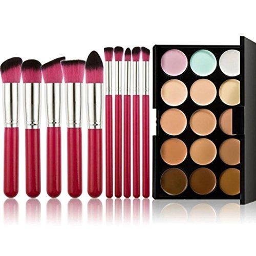 Kolylong Kit de Pinceau maquillage Professionnel Pinceaux 10 Pcs Maquillage Set Teint Poudre Eyeshadow Outil +15 Couleurs Correcteur Poudre Contour Palette