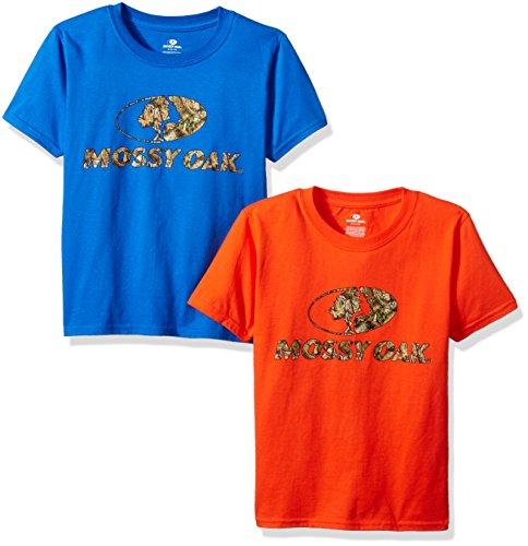Youth Graphic T-shirt (Mossy Oak Youth T-Shirt, 2er-Pack, Jungen, Orange/Royal, X-Large)