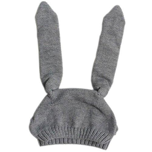 Longra Baby Kleinkind Kind Jungen Mädchen gestrickt Häkeln rabbit ear Beanie Winter Warm Hut, Mütze (Grau)