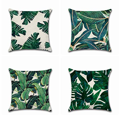 BoomTeck 4 Stück Kissenbezüge Dekorative 45 X 45 cm Kissenbezug Home Sofa Dekokissen Quadratische Kissenbezüge Set Tropische Palme grüne Blätter Muster