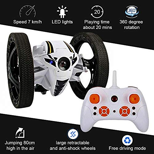 KINGBOT Jumping Car, Wireless Remote Control Stunt Car with 2.4GHz 4CH RC Bounce Car with 360° Rotation Double Sided Tumbling and Extreme High Speed Rotating LED Headlights and Music RC Toys for Kids