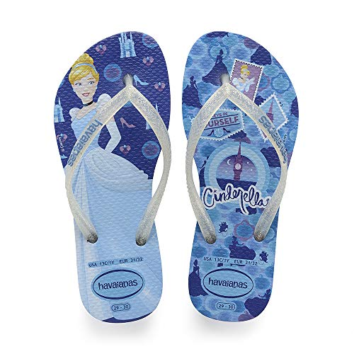 Havaianas Unisex-Kinder Kids Slim Princess Zehentrenner, Mehrfarbig (Blue Star), 33/34 EU