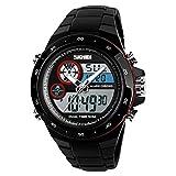 Armbanduhren Mode-Accessoires, Multifunktions-Sport-Digital-Dual-Display Alarm Hintergrundbeleuchtung Student Armbanduhr - Rot
