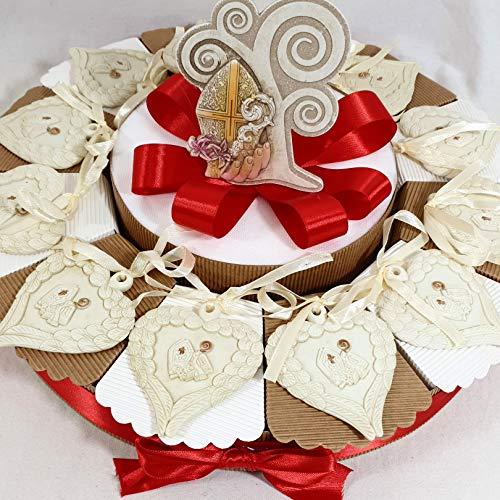 Torta bomboniera per comunione e cresima insieme idea sacramento bimbo bimba chiave mitria bastone (torta 12 fette cuore)