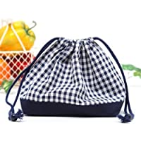 Drawstring Gokigen lunch (medium size) gusset lunch bag check large, dark blue, dark blue canvas x made in Japan N3401600 (japan import) preisvergleich bei kinderzimmerdekopreise.eu