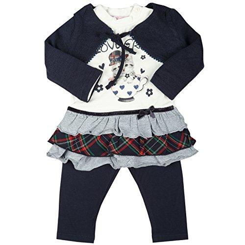 Kinder Baby Mädchen Kleidung Geschenk Paket Set 3 tlg Kleid Bolero Leggings 20332, Farbe:Blau;Größe:12 Monate