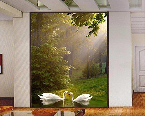 Wallpaper 3D HD Fototapeten Restaurant Eingang Korridor Tapete Swan Lake Scenic Spot Grand MuralTapete für Wände 3d-400X280CM -