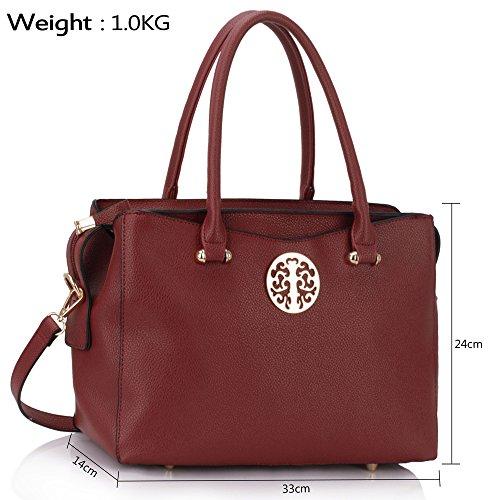 Trend Star Ladies designer handbags imitation leather Large For Tote A - Burgundy