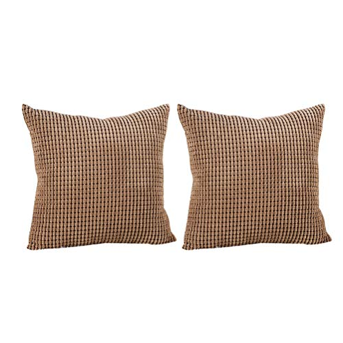 Vosarea 2pcs Throw Pillow Case Dekokissen Schutz Kissen für Sofa Bett zu Hause Stuhl 45x45x0.3cm Kaffeebraun -