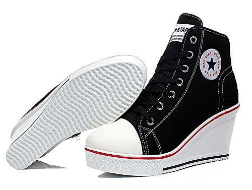 da5811020e0 Wealsex Mujer Cuñas Zapatos de Lona High-Top Zapatos Casuales Encaje Talla  Grande.